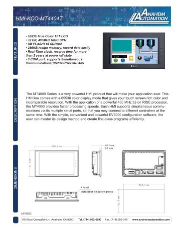 HMI-KCO-MT4404T Spec Sheet.pdf - Anaheim Automation