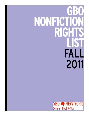 Nonfiction Rights List Fall 2011 - Frankfurter Buchmesse