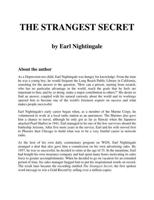 Strangest Secret Pdf