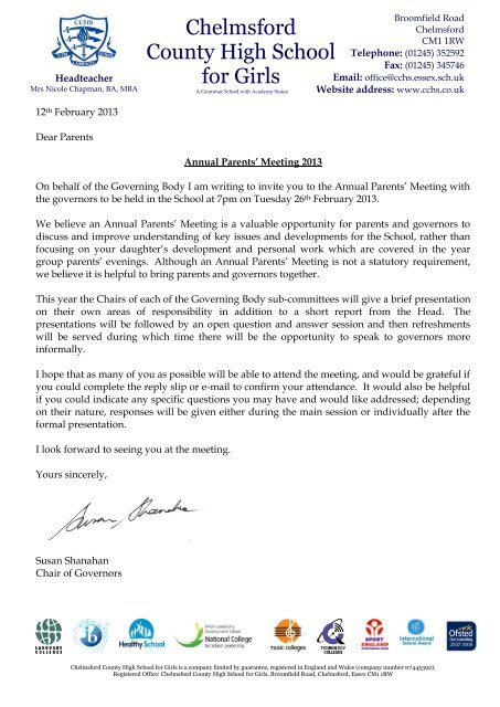 Annual Parents Meeting 26th February 2013 Invitation Letter