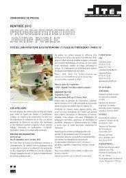 Rentrée 2013, programmation Jeune public - Cité de l'architecture ...