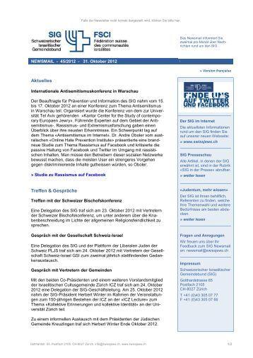 Newsmail 45/2012 - Schweizerischer Israelitischer Gemeindebund