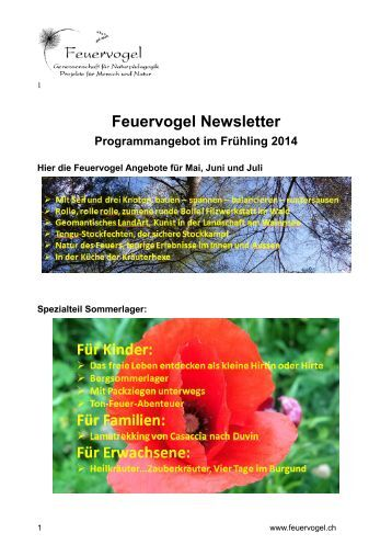 Newsletter Feuervogel Genossenschaft April 2014