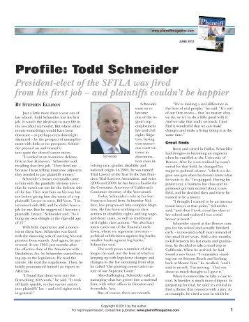 Profile: Todd Schneider - Plaintiff