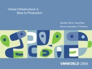 Virtual Infrastructure 3: Beta to Production - VMware