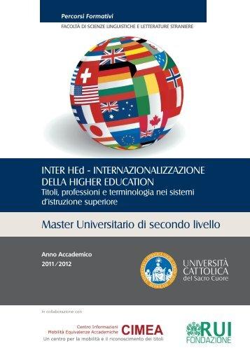 brochure Master InterHed 2011.indd - Milano - Università Cattolica ...