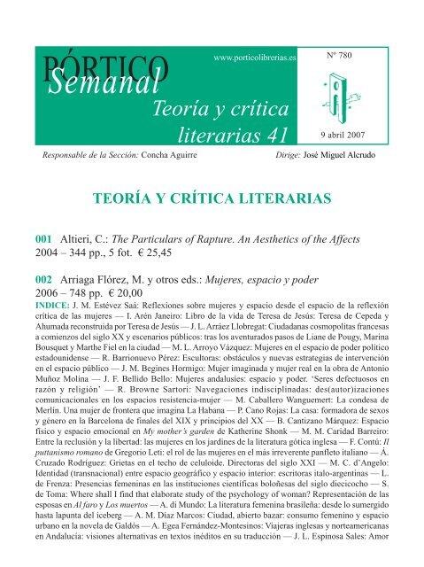 Portico Semanal 780 Teoria Y Critica Literarias 41