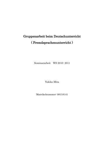 Gruppenarbeit beim Deutschunterricht ( Fremdsprachenunterricht )