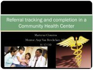 Referral tracking and completion in a Community Health Center