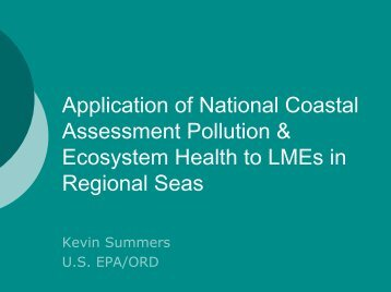 Application of National Coastal Assessment Pollution & Ecosystem ...