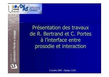 Présentation des travaux de R. Bertrand et C. Portes à l'interface ...