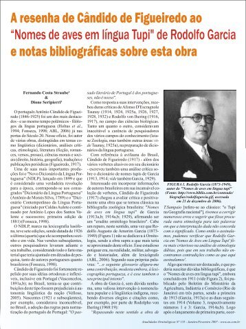 A resenha de Cândido Figueiredo - Atualidades Ornitológicas