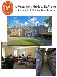 A Researchers Guide to Reference at the Rockefeller Archive Center