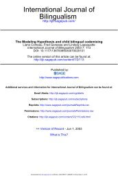 The Modeling Hypothesis and child bilingual ... - McGill University