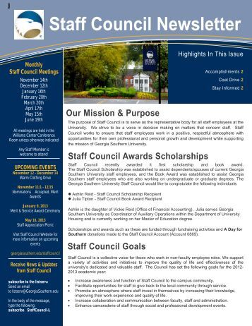 Staff Council Newsletter - services - Georgia Southern University