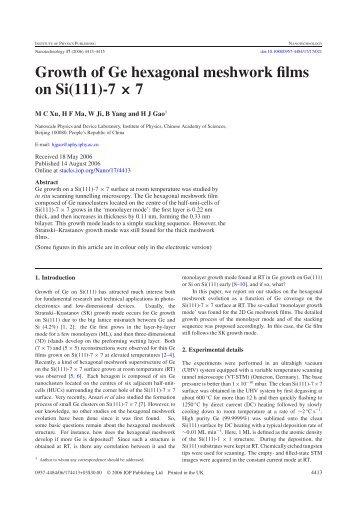 Growth of Ge hexagonal meshwork films on Si(111)-7 × 7