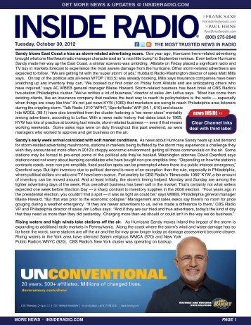 news INSIDE >> Tuesday, October 30, 2012
