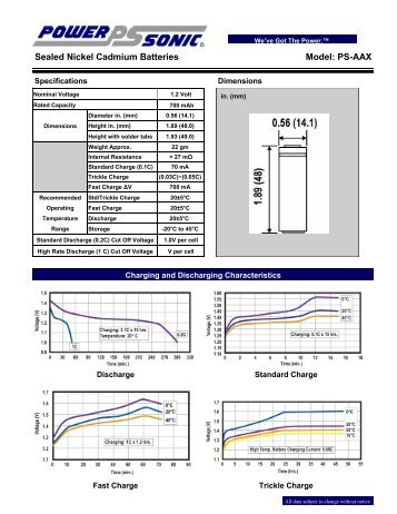 Sealed Nickel Cadmium Batteries Model: PS-AAX - Power-Sonic Corp.