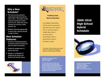 Hybrid Schedule Brochure 2009-2010 – Paulding County School