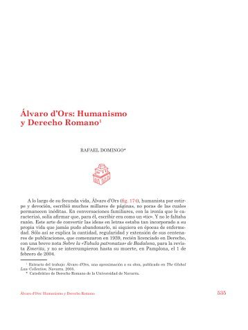 Álvaro d'Ors. Humanismo y Derecho romano - Universidad de Navarra