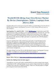 World BYOD (Bring Your Own Device) Market By Device (Smartphones, Tablets, Laptops) from 2014 - 2020