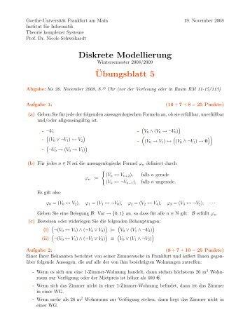 Blatt 5 - Theorie komplexer Systeme - Goethe-Universität