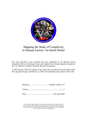 Mapping the Study of Complexity to Human Factors: An Initial Model
