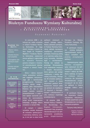 biuletyn II.pdf - Fundusz Wymiany Kulturalnej - Ministerstwo Kultury i ...