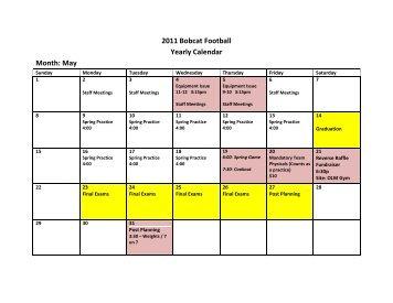 2011 Bobcat Football Yearly Calendar Month: May