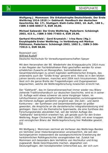 Wolfgang J. Mommsen: Die Urkatastrophe ... - Sehepunkte