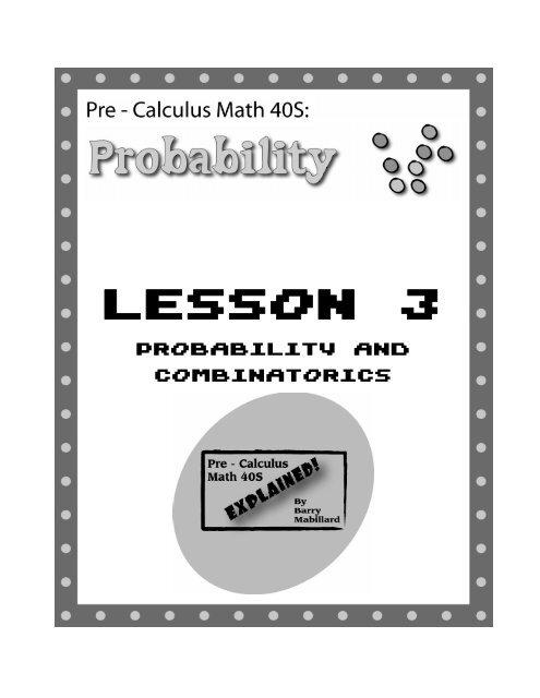 Pre-Calculus Math 40s - Probability - Lesson 3 pdf - Pure Math 30