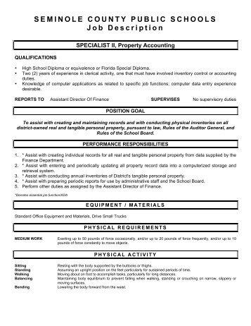 Specialist II, Property Accounting - Seminole County Schools