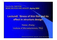Lecture8: Lecture8: Stress of thin film and its effect in structure design