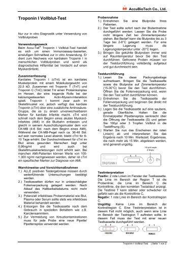 Gebrauchsanleitung Troponin I Schnelltest - Praxisdienst