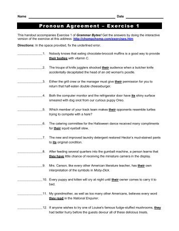 Subject Verb Agreement Exercise 3 Grammar Bytes
