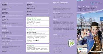 Verkaufsoffener Sonntag Anreise & Services