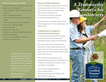 CF Promotional Brochure - Society of American Foresters