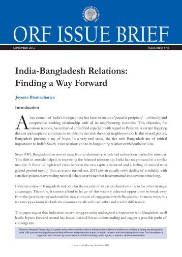 India-Bangladesh Relations: Finding a Way Forward - Observer ...