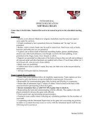 INTRAMURAL SPORTS/RECREATION SOFTBALL RULES - YSU
