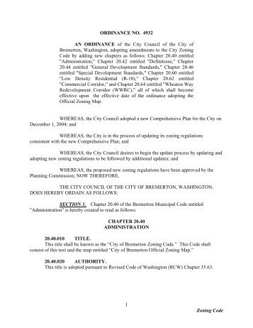 Zoning Code 1 ORDINANCE NO. 4932 AN ... - City of Bremerton
