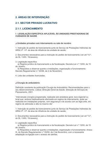 2. ÁREAS DE INTERVENÇÃO 2.1. SECTOR PRIVADO LUCRATIVO ...