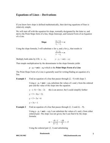 Equations of Lines – Derivations - Hanlon Math