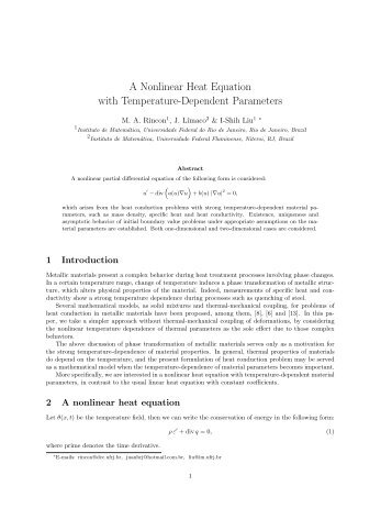 A Nonlinear Heat Equation with Temperature-Dependent ... - UFRJ