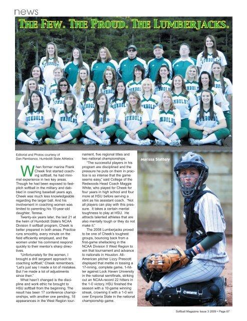 Team Spotlight Humboldt State Softball Magazine