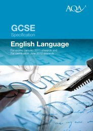 GCSE English Language Specification - Kingsdown School