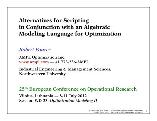 Alternatives for Scripting in Conjunction with an Algebraic