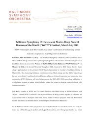 "(""WOW"") Festival, March 2-4, 2012 - Baltimore Symphony Orchestra"
