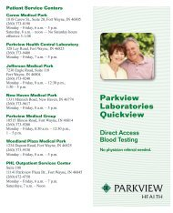 Parkview Laboratories Quickview - Parkview Health Laboratory
