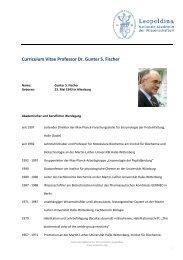 Curriculum Vitae Professor Dr. Gunter S. Fischer - Leopoldina