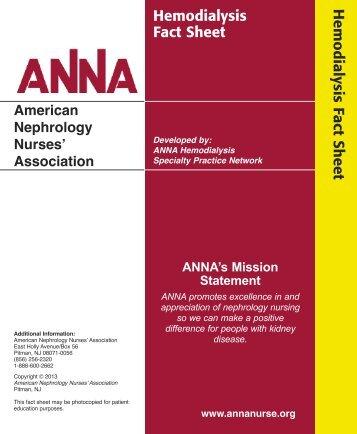 Hemodialysis Fact Sheet - American Nephrology Nurses Association
